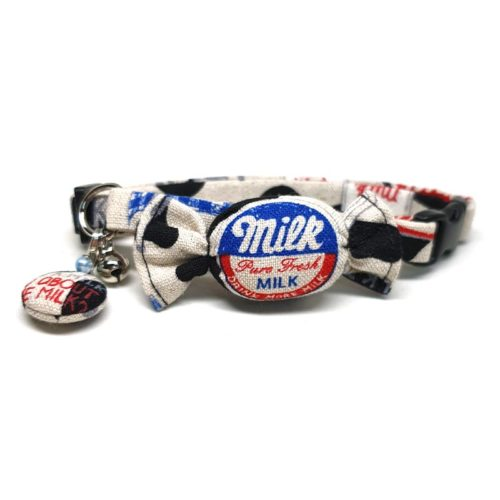 Milk Candy collar with bowtie for cats and small dogs