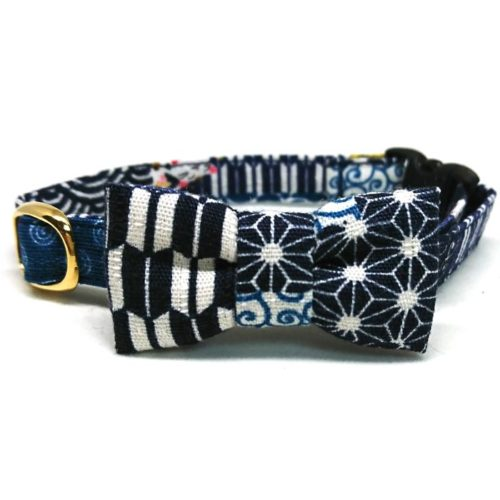 Wagara collar with bowtie for cats and small dogs (Red/Blue)