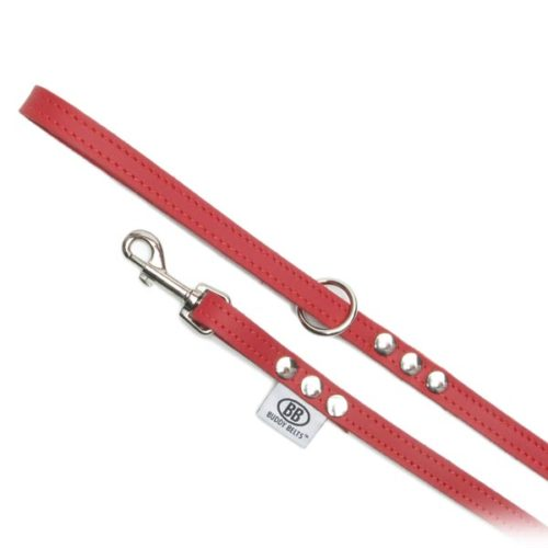 Buddy Belts Premium Leather Leash (Red)